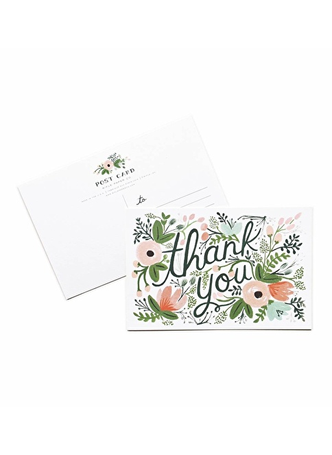 Rifle Paper Co. Wildflower Thank You 10'lu Kartpostal Renkli
